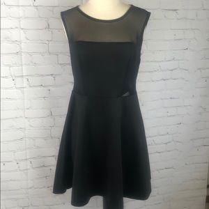 Bisou Bisou Cut Out Dress Black LBD Sheer Panel